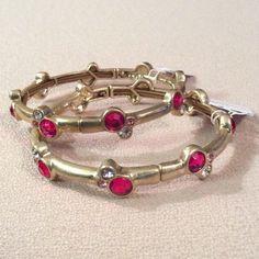 SALE NWT Two stretch, matte gold bracelets Pink & clear cut crystals on matte gold bracelets.  dxtwegyu Lia Sophia Jewelry Bracelets
