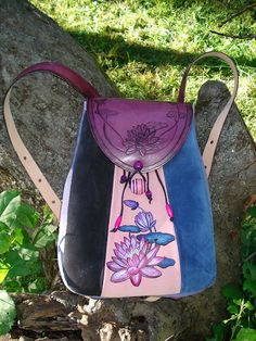 This backpack was a custom order for Mary and she chose her own design (A Lotus Flower) with these wonderful suede colors - rose, lilac, blue and