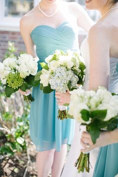 Sea Glass Inspired Bridesmaid Dresses | Dani White Photography on @tidewatertulle
