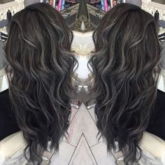 🌑🌑Grey Series🌑🌑 Grey Balayage on a level 3 dark base. Grey Balayage, Balayage Highlights, Balayage Hair, Ombre Hair, Balayage Brunette, Haircolor, Khadi, Dark Grey Hair, Dark Silver Hair