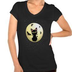 Black cat and Moon V-Neck T-Shirt by BATKEI