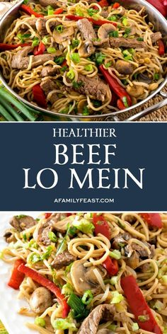 Five Approaches To Economize Transforming Your Kitchen Area This Healthier Beef Lo Mein Is Packed With Healthy Vegetables And Tender Strips Of Rib Eye Beef In A Simple, Flavorful Sauce. Asian Recipes, Beef Recipes, Cooking Recipes, Healthy Recipes, Chinese Recipes, Beef Meals, Asian Foods, Easy Recipes, Mixed Vegetables