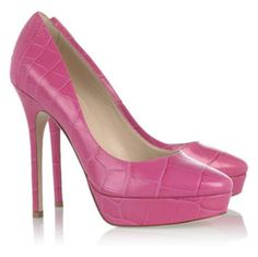 "Jimmy Choo ""Cosmic"" Croc Effect Pink Leather Pumps"
