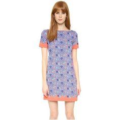 Tory Burch Elisabeth Dress (£155) ❤ liked on Polyvore featuring dresses, sea coral artemis, flower print dress, long shirt dress, short-sleeve dresses, shirt dress and floral print dress