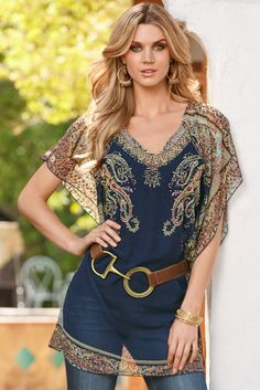 Paisley embellished top - Boston Proper