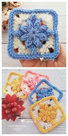 Granny Square Pattern Free, Granny Square Häkelanleitung, Crochet Motifs, Granny Square Crochet Pattern, Crochet Flower Patterns, Crochet Stitches Patterns, Crochet Afghans, Crochet Squares, Knit Crochet