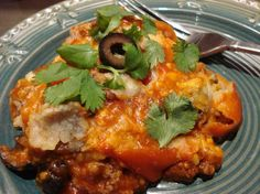 Crock-Pot Slow Cooker Enchilada Casserole from Food.com: This is a great recipe to put together in the am and let it cook all day. The house fills with a great aroma and then you eat a flavorful meal. This recipe can be made with either the corn tortillas or flour tortillas. It comes out in a layered lasagna type way with the tortillas soft but not soggy. This recipe is one originally made by Shellie Hurrle.