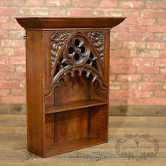 Antique Hanging Shelf, Bookcase, English Oak Pugin Inspired Gothic Revival C1870