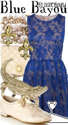 Blue Bayou | Disney Bound.  love the dress and the shoes! Don't need all that jewelry.