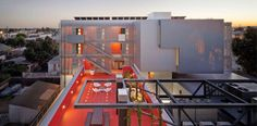 2014 AIA HUD Secretary Award recipient for Excellence in Affordable Housing Design Award - Street Apartments (Los Angeles) by Koning Eizenberg Architecture, Inc. Architecture Résidentielle, World Architecture Festival, Beautiful Architecture, Contemporary Architecture, Jorn Utzon, Good House, Affordable Housing, Business Design, Exterior Design