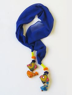 Handmade embroidered Bird Tassel royal Blue Scarf by iThinkFashion, $25.00