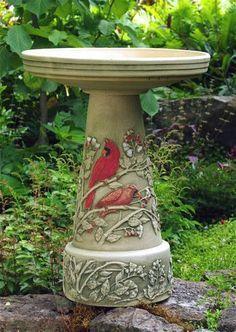 Cardinal Bird Bath With Locking Top Ceramic Bird Bath Bird Bath Ceramic Birds