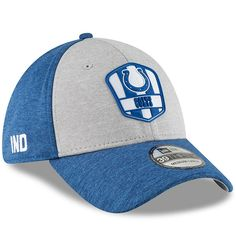 Men s Indianapolis Colts New Era Heather Gray Royal 2018 NFL Sideline Road  Official 39THIRTY Flex Hat f13c12814