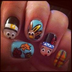 Thanksgiving Nails - Thanksgiving table Faces