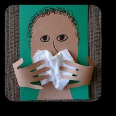 Cover your mouth/wash your hands lesson.I've done something similar to this for a few years now. I usually only use one handprint. Hygiene Lessons, Health Lessons, Preschool Crafts, Crafts For Kids, My Themes, Childhood Education, Health Education, Preschool Activities, Something To Do