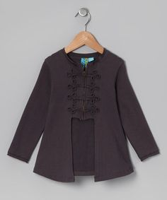 Take a look at this Charcoal Military Cardigan - Toddler & Girls by blü on #zulily today!