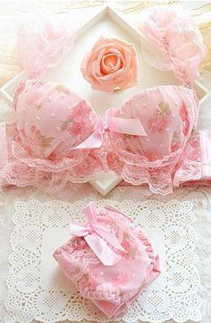 7c5a55507e0f Japanese beauty of flowers gather deep V adjustable shoulder thicker girl  sets for women bra set,panty bra set