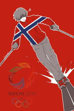 Fourth in a series showing the Hetalia Nordics as athletes in the 2014 Sochi Winter Olympics: Sigurd (head-canon name for Norway) as an alpine skier - Art by inverted-typo.tumblr.com