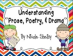 This packet contains activities to use to teach the differences between prose, poetry, and drama.   It addresses the Common Core Standard RL.4.5- Explain major differences between poems, drama, and prose, and refer to the structural elements of poems (e.g., verse, rhythm, meter) and drama (e.g., casts of characters, settings, descriptions, dialogue, stage directions) when writing or speaking about a text.