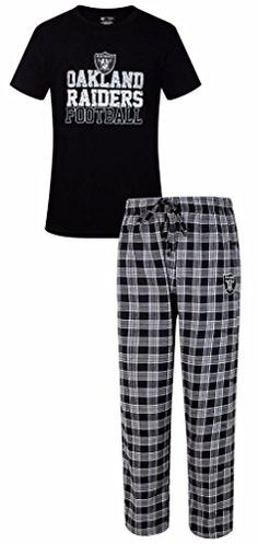 Oakland Raiders NFL Men's Shirt and Pajama Pants Sleep Set  Oakland Raiders NFL Men's Shirt and Pajama Pants Sleep Set Officially Licensed by Team and League. Great Gift Item! Set includes 1 - 60% Cotton/40% Polyester Jersey Knit Top with distressed looking Team Name and Logo screen printed on the front AND 1 pair of 60% Cotton/ 40% Polyester Woven Plaid Flannel Pants with your Team logo embroidered on the front left. Drawstring Tie at waist. Team Colors and Logo. Made by Concepts Sp..