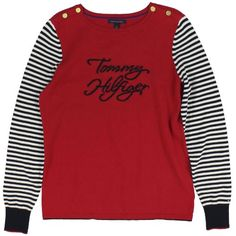 Tommy Hilfiger Womens Logo Striped Sleeve Sweater (Tango Red)