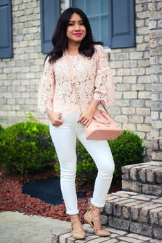 Lace Top Pink via www.jessicafashionnotes.com