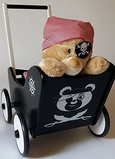 Suabia Kids® Set Madera Muñeca carro pirata + freno + Andador Ropa para muñecas…