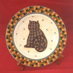 halloween checkered cat candy corn sakura debbie mumm 1998 ceramic 8 plate - Halloween Ceramic Plates
