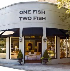 One Fish Two Fish, Savannah. Love this shop, she always has something new and fabulous! Everything from painted chinese chippendale, to gorgeous linens, to lots of smalls to bring home in your suitcase (or wear. as she has fun, great looking jewelry). Love.