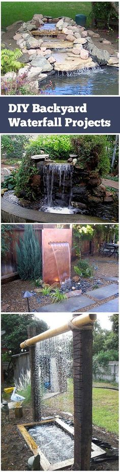 Outdoors Discover DIY Garden Waterfalls For Any Backyard DIY Backyard Waterfall Projects. Second photo: using concrete to build the pond. Then add water feature to pond. Like Carthage. Backyard Water Feature, Ponds Backyard, Backyard Landscaping, Backyard Waterfalls, Garden Ponds, Concrete Backyard, Diy Water Feature, Water Falls Garden, Water Falls Backyard