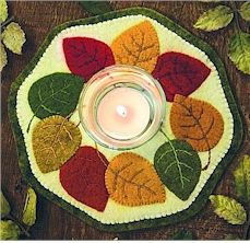 Bareroots Fall Leaves Candle Mat Wool Felt Pattern