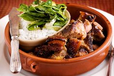 Caramelised pork belly with rice and greens
