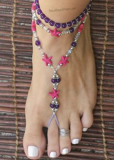 Pink starfish foot jewelry ☼ Tangsi Beach ☼  Foot Jewelry •  Barefoot Sandals • Anklets • Bracelets