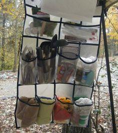 creative storage at campsite