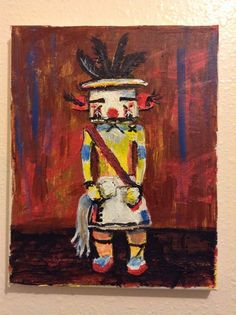 """Plumed Water Serpent, Kachina Doll""  original painting, 8""x10"" by jack larson   #Abstract"