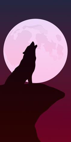 Howling, wolf, silhouette, minimalist art, 1080x2160 wallpaper