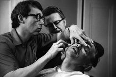 "Dick Smith and Phil Rhodes working on transforming Marlon Brando for The Godfather (1972). The New York Times, August 1 2014, ""Dick Smith Dies at 92; Makeup Artist of Vast Reach"""