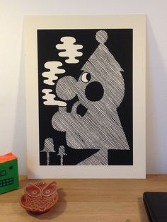"""""""Tomte wit Pipe""""Print by Adam Higton from Bristol. Printed on heavy weight finnish nature cardboard."""