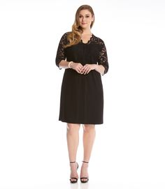 Plus Size Contrast Scallop Lace Dress-Black-0X