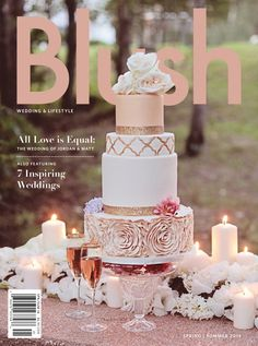 Blush Magazine Cover:: Rose Gold Wedding Cake::Style Cakes