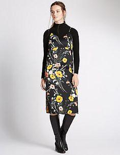 Satin Floral Slip Dress