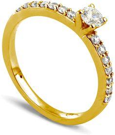 Tousmesbijoux Solitaire Collection Duos en Or jaune 375/1000 Diamant 0,36 - Taille 58