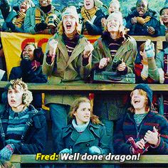 Their faces though!!! Their thoughts- Hermione: Someone please tell me that I'm dreaming that I'm affiliating myself with such fools. Neville: Whaaaa..? Ron: LOL Harry's gonna get killed Fred: WELL DONE DRAGON!! George: WELL DONE DRAGON!!