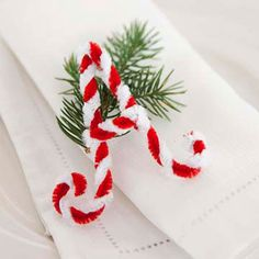 Super easy napkin ring.  Whimsical chenille stem letters...