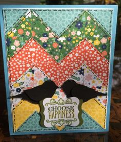 handmade card: Quilted Happiness by ruby-heartedmom ... chevron pieced patter with punched patterned papers in small prints ... two SU punch birds in silhouette ... luvv it!