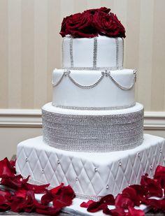 Modern Five Tier Gold Fondant Wedding Cake, wedding cake, Palermo Bakery, wwww.palermobakery.com