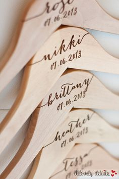 "5 Personalized Bridesmaid Hangers Engraved by DelovelyDetails, $50.00 Natasha Webb, Marriage Celebrant. ""Easy going, contemporary, personal"" www.natashawebb.com Servicing Melbourne, Victoria, Australia!"