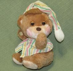 "Fisher Price 1985 TEDDY BEDDY Vintage Sleepy Bear Bed Time Plush #1401 11"" Toy  #FisherPrice"