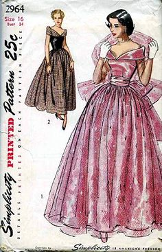 Simplicity 2964 ©1949 evening gown & stole