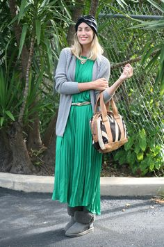 green pleated dress  Luli B. *lovely things*